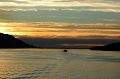 All, Ship, Boat, Barge, Sunset, Inside Passage, Canada, Inside Passage