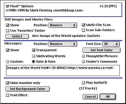 QT Float(tm) Screen Saver Modules Settings